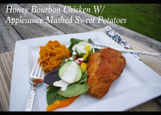 Crockpot Honey Bourbon Chicken with Sweet Potato Applesauce Mash