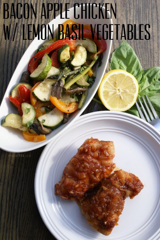 Crockpot BBQ Bacon Apple Chicken with Spring Veggies
